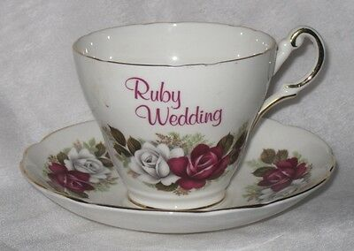 Heritage Regency Collection Fine Bone China Cup nd Saucer Duo Ruby Wedding