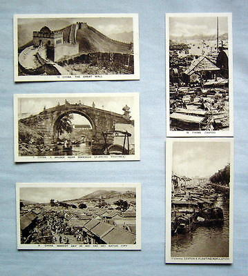 Early CHINA Scenes Circa 1933   (My Princess Cigarettes)  FIVE PHOTO CARDS