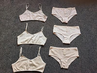 3 pairs of girls 9-10 crop tops with matching short knickers underwear