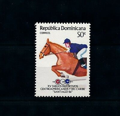 [46315] Dominican Republic 1986 Sports Horse riding from set MNH