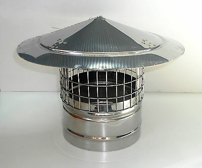 CHIMNEY COWL with Bird Guard Stainless Steel Rain Cap to fit 3.2''-8'' /80-200mm
