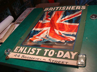 Original WWI Poster: BRITISHERS ENLIST TO-DAY by Guy Lipscombe --AWESOME--