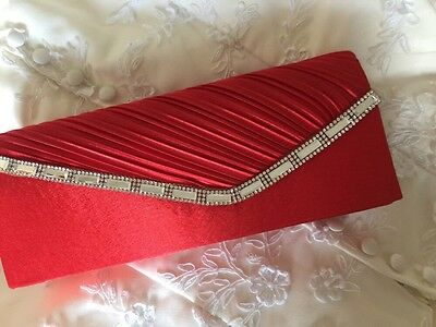 Red Diamanté Trim Clutch Evening Bag Accessories