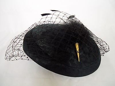 Vintage 1980's Black Satin Damask Pillbox Hat, Veil and Feather Pin. England