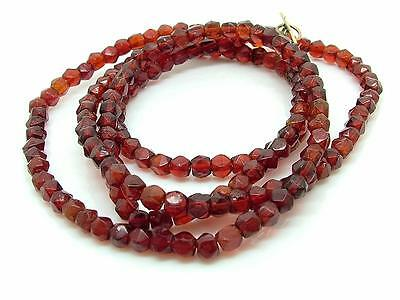 Antique Edwardian Art Deco Faux Garnet Faceted Bead Necklace w Rolled Gold Clasp