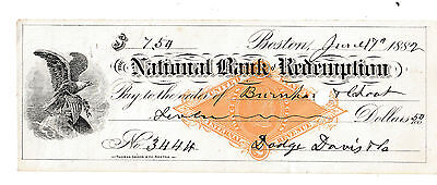 1882 THE NATIONAL BANK of REDEMPTION ,BOSTON, MASSACHUSETTS   W/REVENUE STAMP