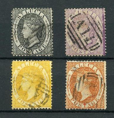 St Lucia 1864-76 perf 14 set SG15/18 FU cat £84 as cheapest