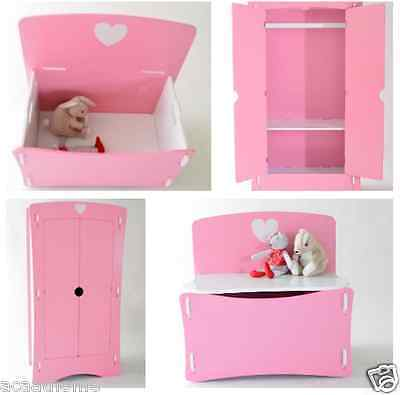 Bedroom Furniture For Kids Sets Girls Pink Big Wardrobe and Toy Box White Heart