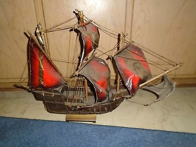 """Antique Vintage Wooden Sailboat Ship 27"""" Wood Pirate Boat Nautical Ship"""
