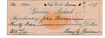 1877  Grocers Bank, New York    W/revenue