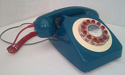 Home Phone, Push Button Telephone Blue & Red Phone Wild & Wolf Retro 746