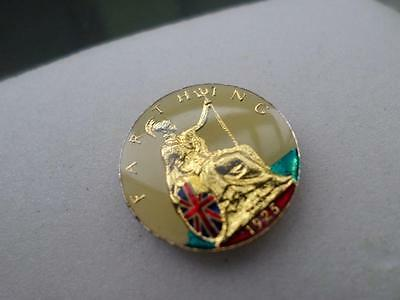Vintage Enamelled Farthing Coin 1925. Wonderful Present Or Lucky Charm Gift
