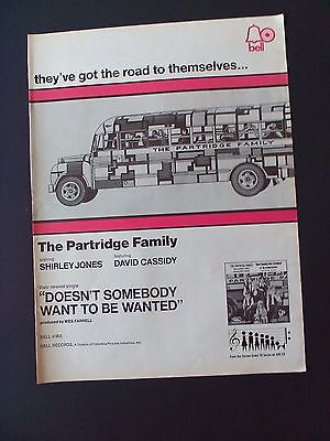 "THE PARTRIDGE FAMILY ""Shirley Jones-David Cassidy"" 1971 Original Promo Poster Ad"