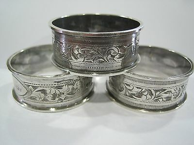 Set 3 Solid Silver Napkin Rings