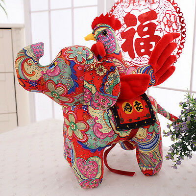 2017 New Year Gift Chinese Zodiac Rooster Plush Toys Elephant Chicken Mascot Toy