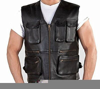 Hunter leather waistcoat Motorcycle biker style fashion leather vest