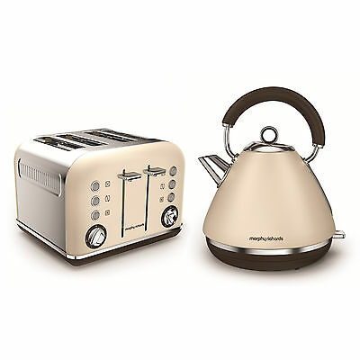 Morphy Richards Special Edition Accents Sand Cream Kettle & 4 Slice Toaster