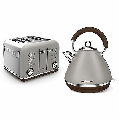 Morphy Richards Special Edition Accents Pebble Grey Kettle & 4 Slice Toaster