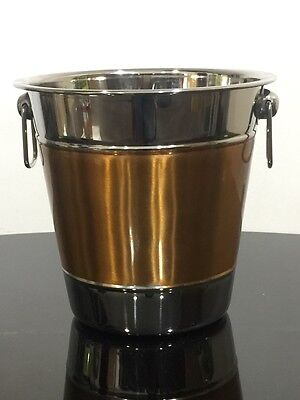 Brushed Stainless Steel and copper Ice Bucket Wine Cooler Champagne Cooler