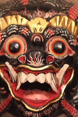quality hand carved Painted Balinese black Barong Mask wallhanging 195mm x 180mm