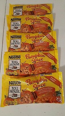 Lot of 5 Bags Nestle Toll House Morsels Pumpkin Spice Baking Chips 10 oz/each