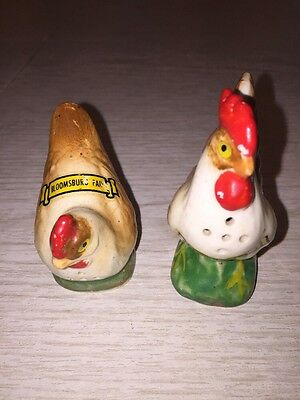 Hen and Rooster Salt and Pepper Shakers Ceramic Chicken Country Farm Decor