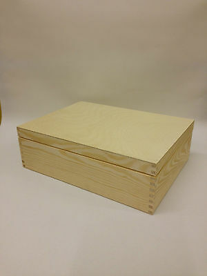 Unpainted Natural Wooden Box A4 Size Memory Box Magazine Documents Storage Case