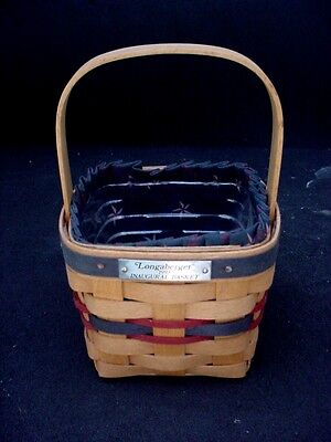 1993 Longaberger Inaugural Wood Basket With Cloth & Plastic Liners