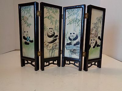 Vintage Hand Painted Marble Chinese Mini Table Screen Panda & Mountain Scene
