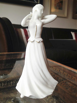 Royal Worcester Figurine, White Lady, Gilt Trim, 6.1/2in tall, Perfect