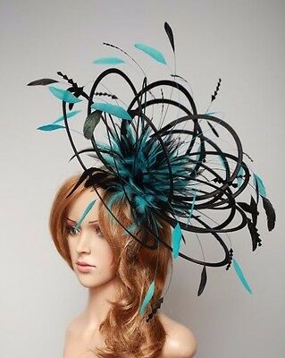 Black & Jade Green Fascinate/Fascinator hat/choose any colour satin/ feathers