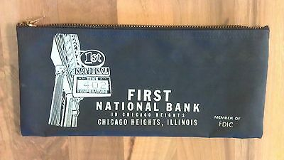 Vintage First National Bank Chicago Heights Illinois Vinyl Money Deposit Bag HTF