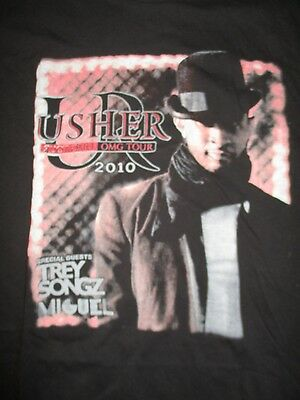 """2010 USHER with Guest MIGUEL TREY SONGZ """"OMG"""" Concert Tour (XL) T-Shirt"""