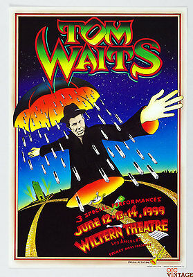 Tom Waits Poster 1999 Jun 13 Wiltern Theatre Los Angeles Randy Tuten
