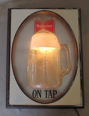Vintage Budweiser On Tap Wall Light Up Sign