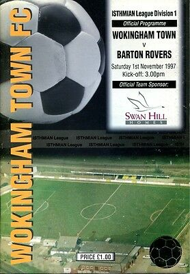 Wokingham Town v Barton Rovers 01/11/97 Isthmian Division 1