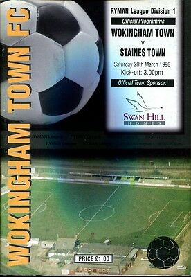 Wokingham Town v Staines Town 28/03/98 Ryman Division 1
