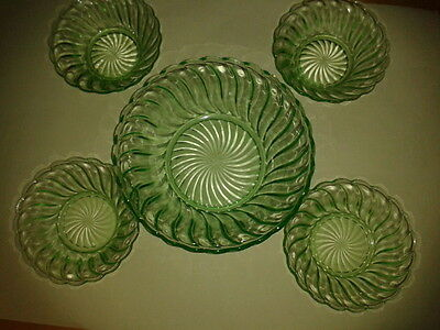 dessert bowl and dish,s in green glass