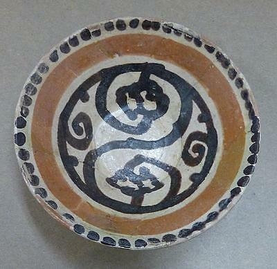 "Very Early Islamic Central Asian Slip Decorated 4 3/4"" Diameter Pottery Bowl"
