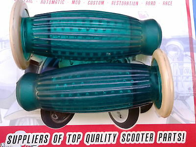 Lambretta Vespa Superflex Handle Bar Grips Barrel Balloon Grips 22mm Green white