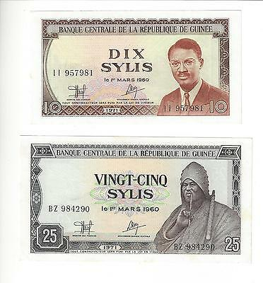 Guinea 10 And 25 Sylis  1960   Pair   Nice Unc