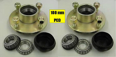 TRAILER WHEEL HUBS 100mm PCD WITH BEARINGS & DUST CAPS  4 STUD M12 x 2