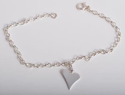 Sterling Silver Funky Heart Charm Ankle Chain Bracelet Anklet 925