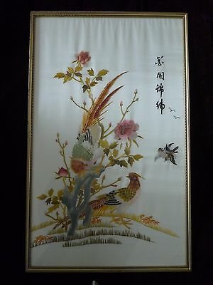"""Vintage Large Oriental Chinese Silk Framed Picture - Birds - 18 x 29"""""""