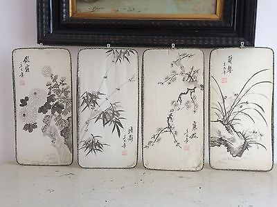 VINTAGE 60s HAND PAINTED ORIENTAL CHINESE PANEL WALL HANGING SET 4 BEAUTIFUL