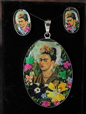 Frida Self-Portrait with Thorn Necklace, Sterling Pendant & Earrings Set, Mexico