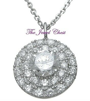 2.00 Ct Round Halo Style Diamond Pendant Necklace Chain White Gold Sterling