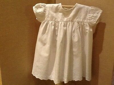 Vintage Baby Dress In White Cotton With Embroidery Detail