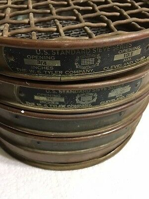 4 Vintage Brass Us Standard Sieves, 1 Pan, W.s. Tyler Company, Free Shipping!