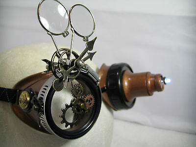 Pro Steampunk Safety Goggles Copper Clockwork Gears Western Top Hat 5X2 20X LED